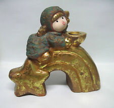 Green / Gold Angel on Rainbow and Star Candle Stand / Candle Holder - terracotta