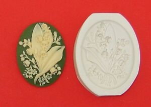 Cameo LILY of the VALLEY Flowers Hard Polymer Clay Push Mold 40x30mm
