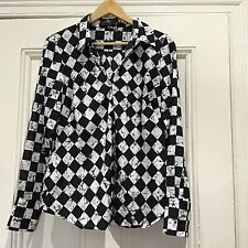 CUE Shirt Blouse Size 10 Black White Work Casual Long Sleeve As New corporate