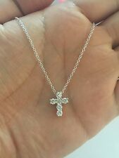 "925 Sterling Silver Cubic Zirconia Cross Necklace 16""+1""+1"""
