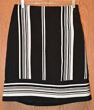 Womens Black Ivory Striped Cato Flat Front Skirt Size 4 NWT NEW