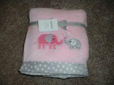 Carter's Baby Blanket Cozy Pink Elephant Gray Fleece Infant Girls Soft NWT NEW
