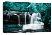 Le Reve Waterfall Landscape Wall Art Canvas Forrest Picture Teal Grey White