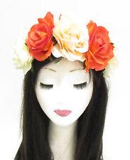 Large Orange Cream Rose Flower Sugar Skull Headband Halloween Big Hair Band 787