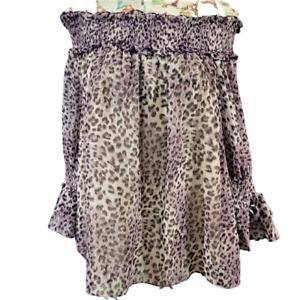 Entro L Purple Leopard Print OTS Shirred Neckline Long Sheer Bell Sleeve Blouse