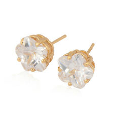Cute christmas small clear crystal 18K Gold Plated womens Flower stud earrings