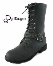 NEW Womens Military Combat Boots Shoes Lace Up Mid Calf Buckle Round Toe Casual