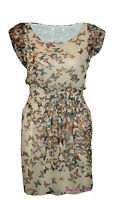 Ladies Butterfly Print Casual Party Wear Mini Dress Yellow Colour Size S to L