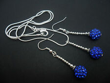A PRETTY BLUE SHAMBALLA STYLE  NECKLACE AND EARRING SET. NEW.