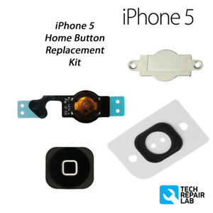NEW Premium Replacement Complete Home Button Repair Kit For iPhone 5 - BLACK