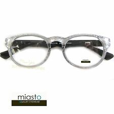 MIASTO ROUND PREPPY READER READING GLASSES+2.75 WHITE PEARL BLACK GLAM ~BIFOCAL~