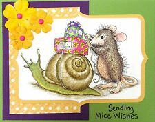 Snail Mail HOUSE MOUSE Wood Mounted Rubber Stamp STAMPENDOUS, NEW - HMP49
