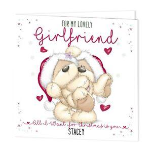 PERSONALISED CHRISTMAS XMAS CARD-GIRLFRIEND/BOYFRIEND FIZZY MOON BEAR- ADD NAME