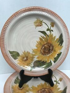 "6 Pottery Barn Sunflower Plates 9.5"" Yellow Green Orange Brown Flower"