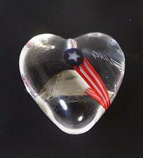 Robert Held Patriotic USA Paperweight Art Glass Heart Signed Original Sticker