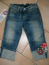 (837) Nolita Pocket Girls Capri Jeans Hose used look mit Pilz Stickerei gr.152
