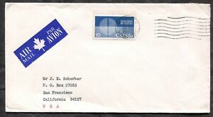 WINNIPEG 1970 Airmail Cover to USA. Single #513 Tagged, 2 Bars          (p02018)