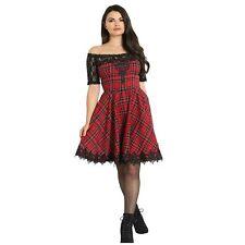 Hell Bunny Amara Red Tartan Plaid Black Lace Hogmanay Christmas Party Dress