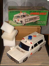 ALPS NEW ALARM SOUND PLASTIC B/O AMBULANCE FULLY OPERATIONAL, COMPLETE W/BOX!