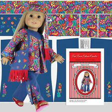 "18"" Doll Clothes Kit Hippie Oufit Top Pants Purse Headband American Made Panel"
