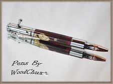 Handmade Writing Pen Maple Burl Wood Bolt Action Hunting Beautiful Artwork 664