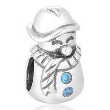 Happy Snowman Charm - Silver European Bead - Sparkling Jewellery Gift