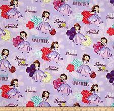 Disney Princess Sofia The First Cameo Portrait Cotton Fabric BY THE HALF YARD