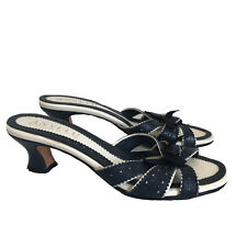 Anyi Lu Womens Shoes Blue White Sandals Leather Bow Slip on US 7 made in Italy