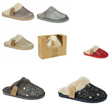Womens Winter Fur Glitter Sparkly Slipper Warm Hard Sole Flats Mule Shoes Size