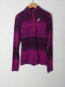 Asics Long Sleeve Womens S Athletic Running Shirt 1/4 Zip Pullover