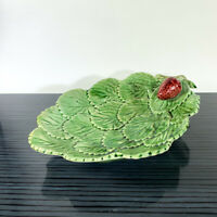 Majolica Green Leaf Dish with Strawberry Made in Portugal