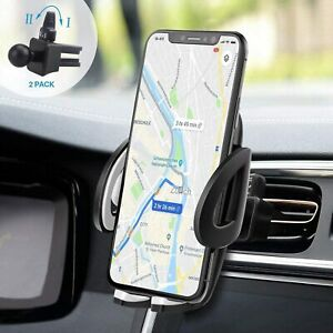 Car Phone Holder Air Vent Mount Cradle, 2 Clips One Button Release 360 Rotation.