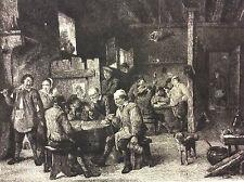 Intérieur de cabaret David II Teniers par Wilhelm ROHR (1848-1907) c 1880 XIXe