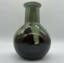 """Vintage Ceramic Green and Brown Drip Glazed Vase 7"""" Tall"""