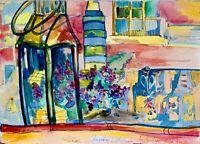 ORIGINAL Watercolor painting on paper artwork SIGNED travel art Amsterdam