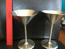Stainless Steel Set of 2 Martini Glasses