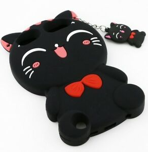 For iPod Touch 5th 6th 7th Gen - SOFT SILICONE RUBBER CASE COVER BLACK KITTY CAT