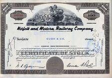 Norfolk & Western Railway Stock Certificate Railroad Southern