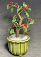 Vintage Made For Gumps Glass Bonsai Holly Tree Made in Japan Beautiful 8.5""