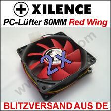 2x [Xilence] 80mm Red Wing Gehäuse-Lüfter/Fan →Rot 8cm Case Kühler PC XPF80