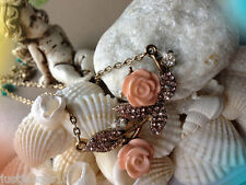 Necklace Dusty tea Pink white crystals Peach Rose Shabby chic style Victorian