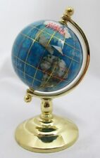 6 INCH ROTATING WORLD GLOBE ABALONE & SEMI-PRECIOUS STONES METAL STAND