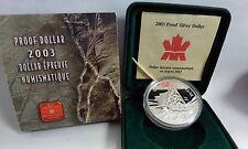 {BJSTAMPS}  2003 CANADA Proof DOLLAR  25.175 grams .999 FINE Silver  Mining FOX