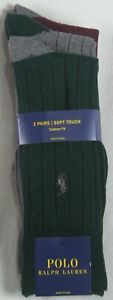 Polo Ralph Lauren 3 Pairs Green Grey Burgundy Dress Socks Custom Soft Touch NWT