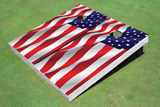 Wavy American Flag (white) Custom Cornhole Board Set
