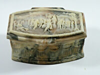 Vintage 1970's Genuine Incolay Stone Jewelry Box Hand Crafted USA Alabaster MINT