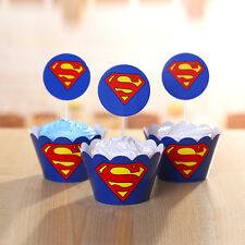 24pcs Superman Cupcake Cake 12 Toppers 12 Wrapper Decoration Kids Birthday Party
