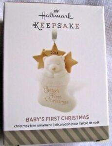 HALLMARK 2014 Ornament BABY'S FIRST CHRISTMAS New SHIP FREE Porcelain Bear