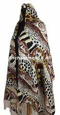 Stunning 2-Ply 100% Cashmere Pashmina ANIMAL PRINT Shawl Wrap Brown/Yellow/Black