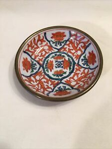 """Antique Oriental Bowl Japanese Hand Painted 4"""" Wide Makers Mark Copper Back"""